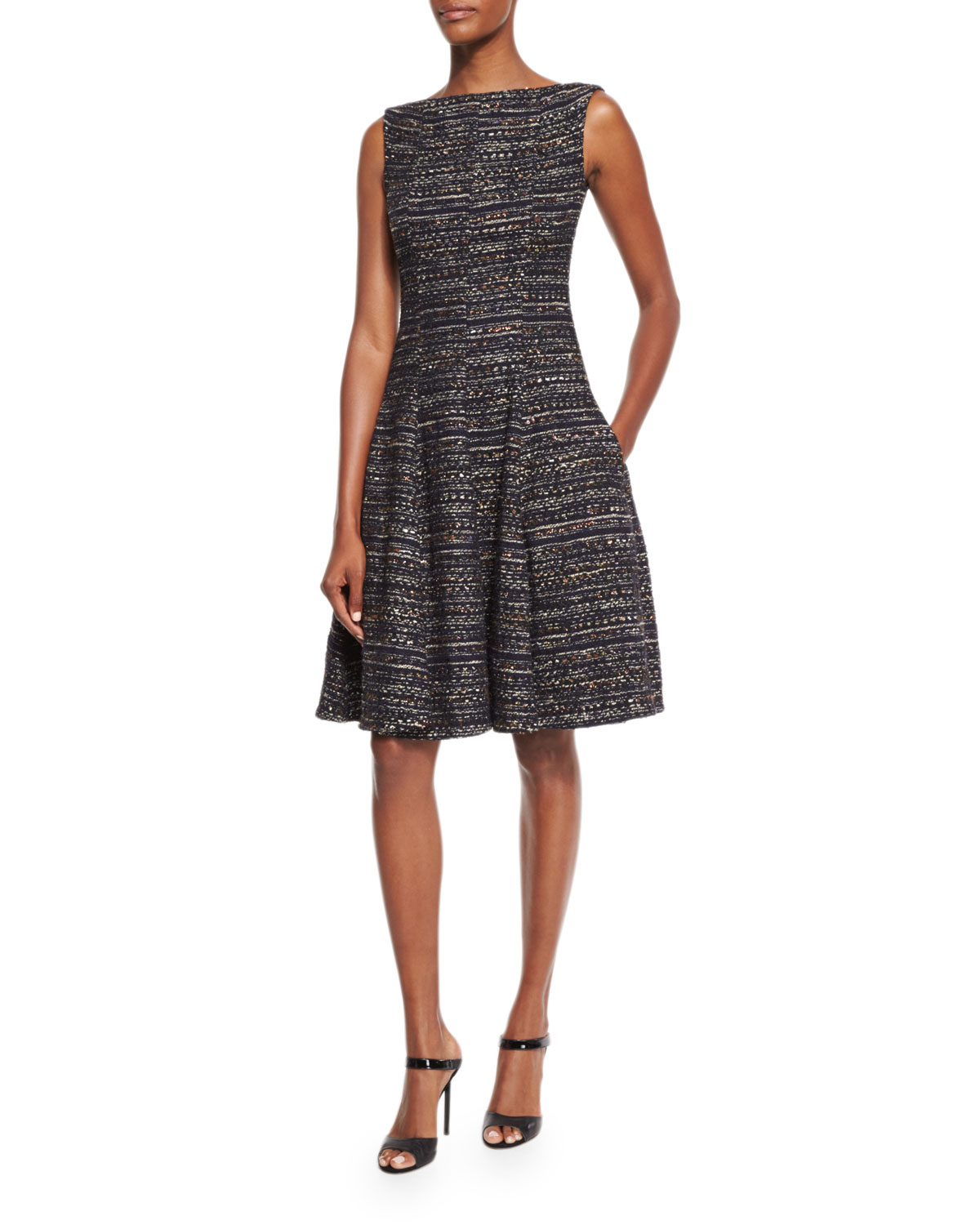 Doha Iridescent Tweed Dress, Navy