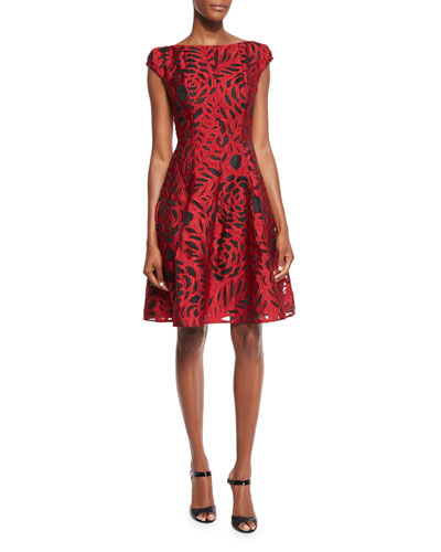 Longley Cap-Sleeve Fil Coupe Dress, Red/Black