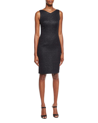 Roxie Iridescent Jacquard Sheath Dress, Black