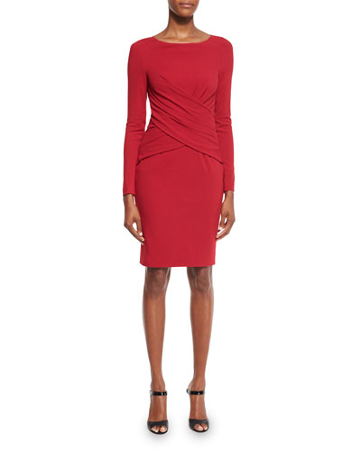 Lounge Long-Sleeve Wrap-Front Sheath Dress, Red