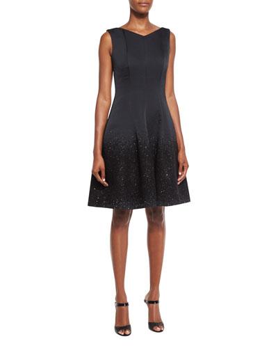 Gomma Degrade Sequin Cocktail Dress, Black