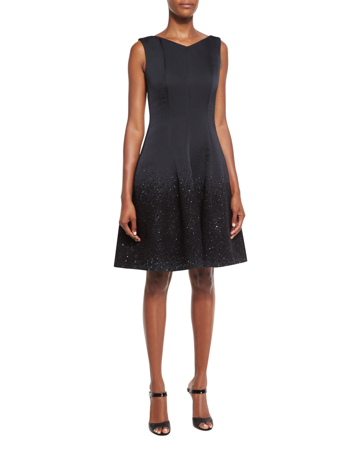 Gomma Degrade Sequin Cocktail Dress, Black