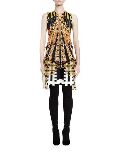 Sleeveless Optical Wings Print Sheath Dress, Multi Colors
