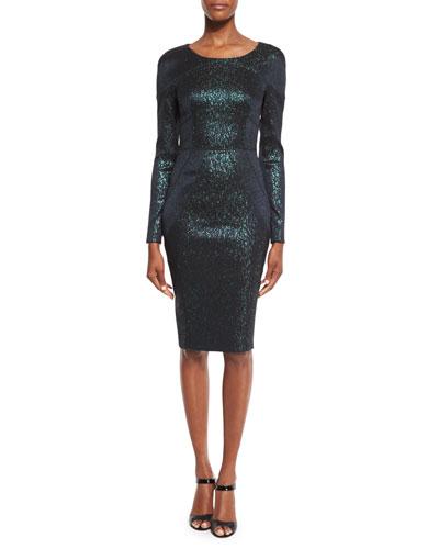 Loft Metallic Long-Sleeve Sheath Dress, Green