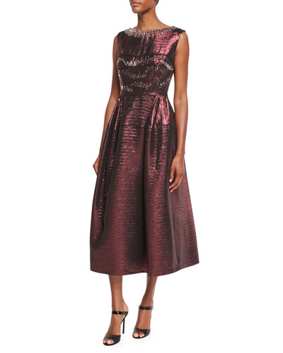 Locomotion Metallic Midi Cocktail Dress, Wine