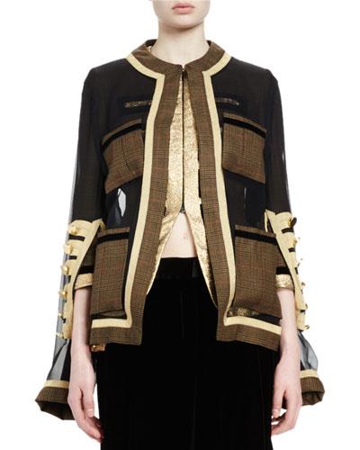 Chiffon Jacket w/Plaid Trim, Brown Plaid