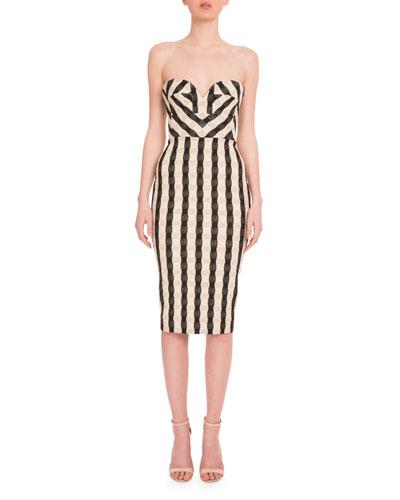 Strapless Wavy-Gingham Dress, Black/White