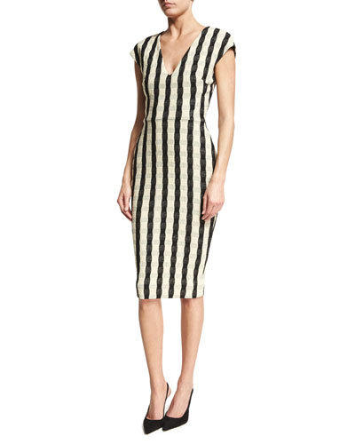 Gingham-Striped Cap-Sleeve Dress, Black/White