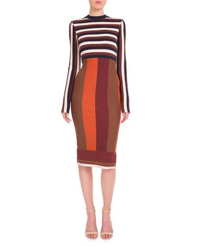 Long-Sleeve Striped Sheath Dress, Navy/Bordeaux/White