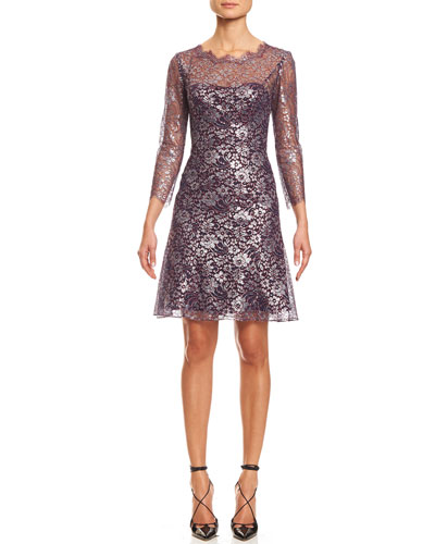 3/4-Sleeve Metallic Lace-Print Cocktail Dress, Silver/Red