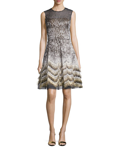 Sleeveless Metallic Jacquard Cocktail Dress, Black/Gold