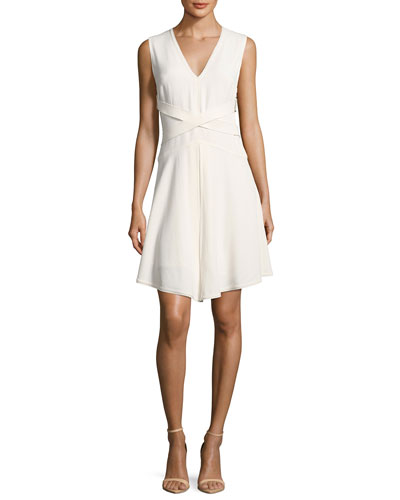Sleeveless Satin Wrap-Front Dress, White