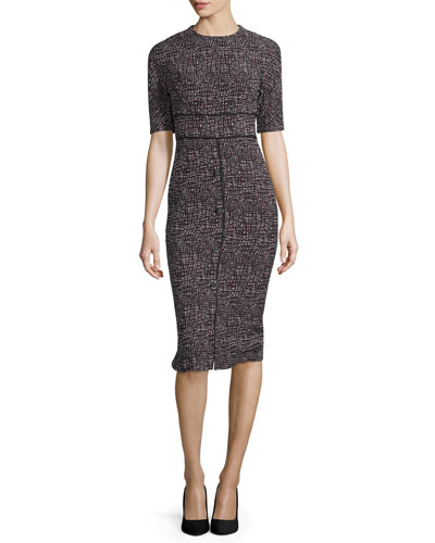 Patterned Jacquard Sheath Dress, Burgundy