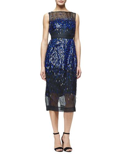 Fringed Paillette Sheath Dress, Blue