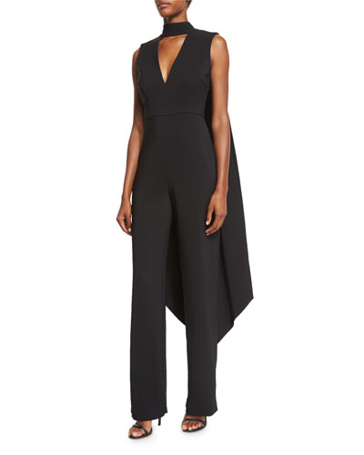 Leandra Stretch-Woven Jumpsuit w/Cape, Black