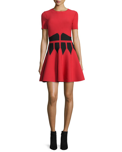 Jewel-Neck Dress with Graphic Flame Waist, Black/Red