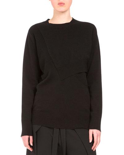 Long-Sleeve Pieced Sweater, Black