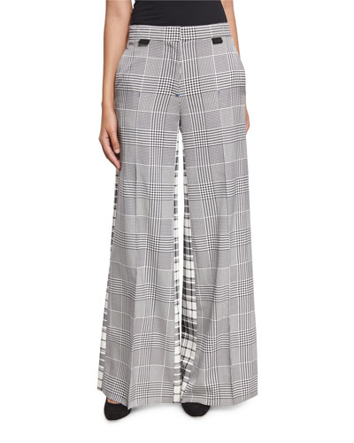 Wide-Leg Mixed-Plaid Silk Pants, Black
