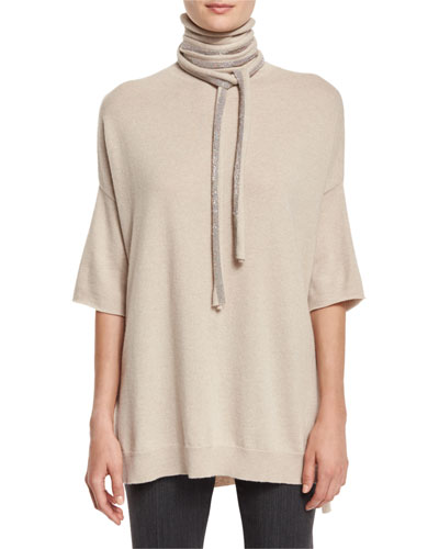 Short-Sleeve Tied Turtleneck Sweater, Grain