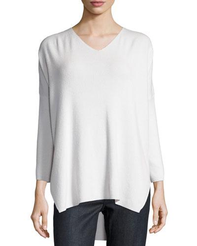 Oversized Ribbed Cashmere Sweater, White