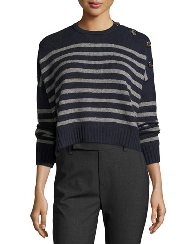 Striped Cashmere Cropped Sweater, Navy/Charcoal