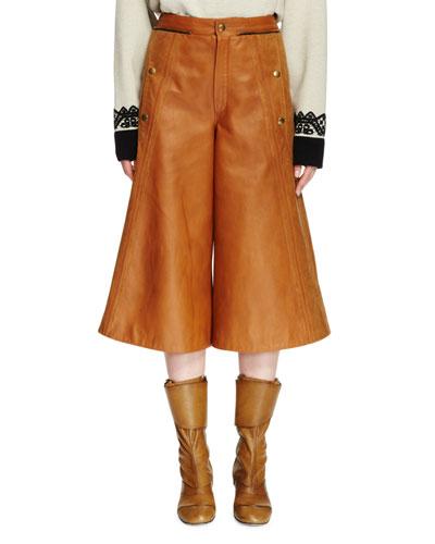 Flared Leather Culottes, Tan