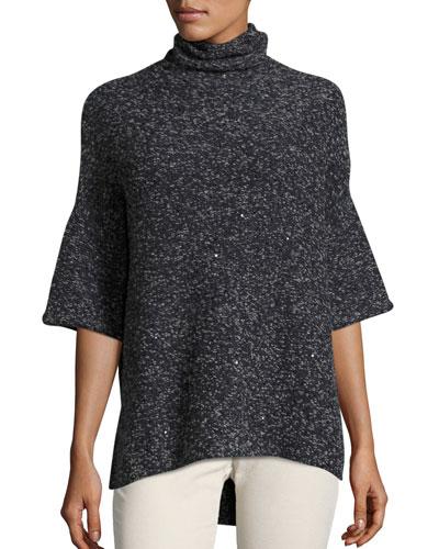 Half-Sleeve Knit Turtleneck Sweater, Navy/Charcoal