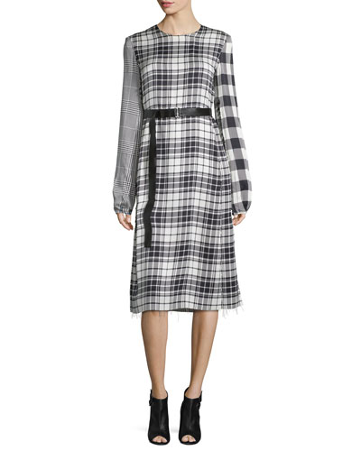 Mixed-Plaid Long-Sleeve Dress, Black/White