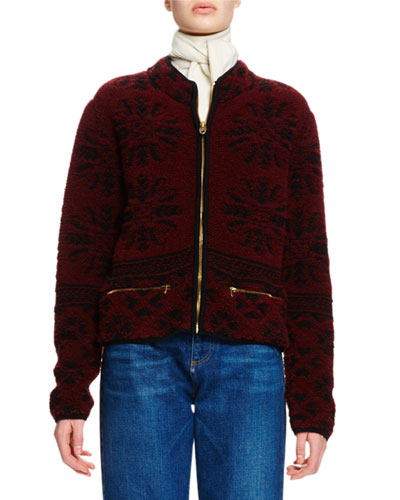 Zip-Front Wool Jacquard Sweater, Burgundy