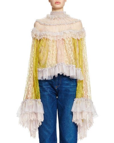 Patchwork Lace Ruffle-Sleeve Top, Lavender/Yellow