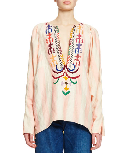 Embroidered Long-Sleeve Split-Neck Blouse, Cream/Pink