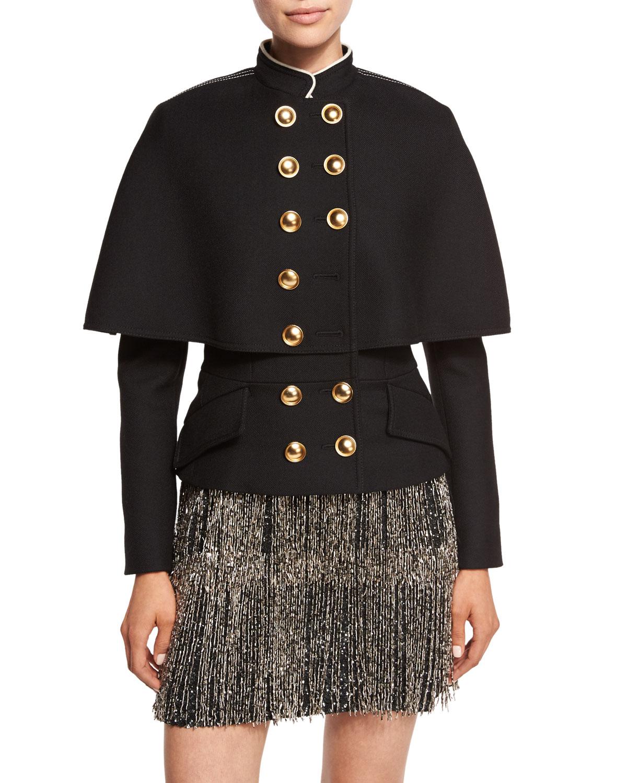 Wool-Silk Military Cape Coat, Black