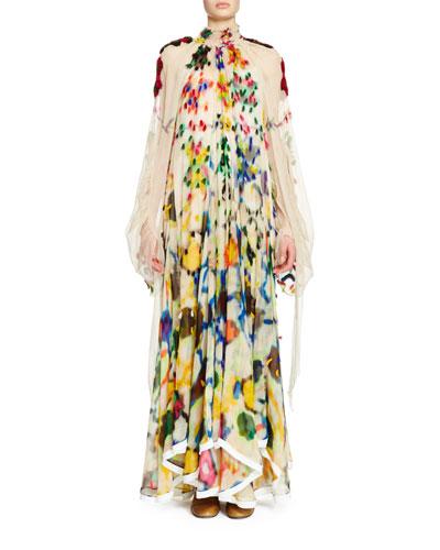 Long-Sleeve Mock-Neck Inkblot Maxi Dress, Multi Colors