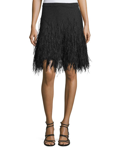 Feather-Embellished Cashmere Skirt, Gray