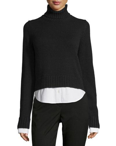 Cashmere Turtleneck Sweater w/Shirttail Hem, Black