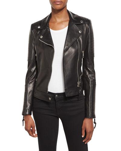 Zip-Front Leather Biker Jacket, Black