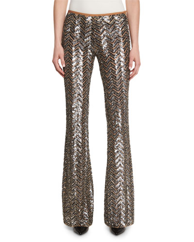 Metallic Herringbone Paillette Pants, Silver
