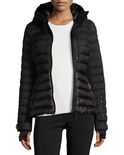 Quilted Matte & Shiny Puffer Coat, Black
