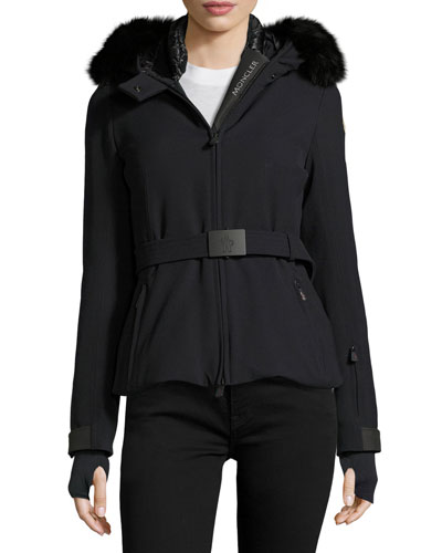 Bi-Stretch Technical Nylon Coat w/Fur Trim, Navy