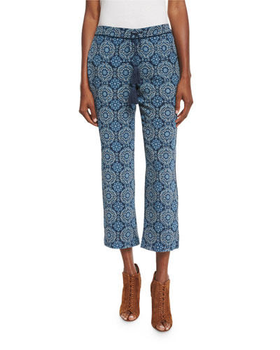 Printed Silk Drawstring Pants, Blue