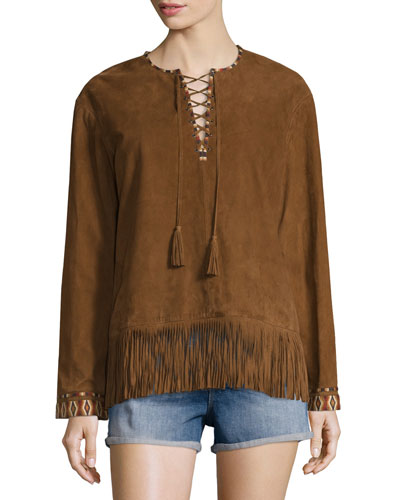 Lace-Up Fringed Suede Top, Tan