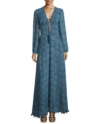 Long-Sleeve Paisley-Print Silk Maxi Dress, Blue