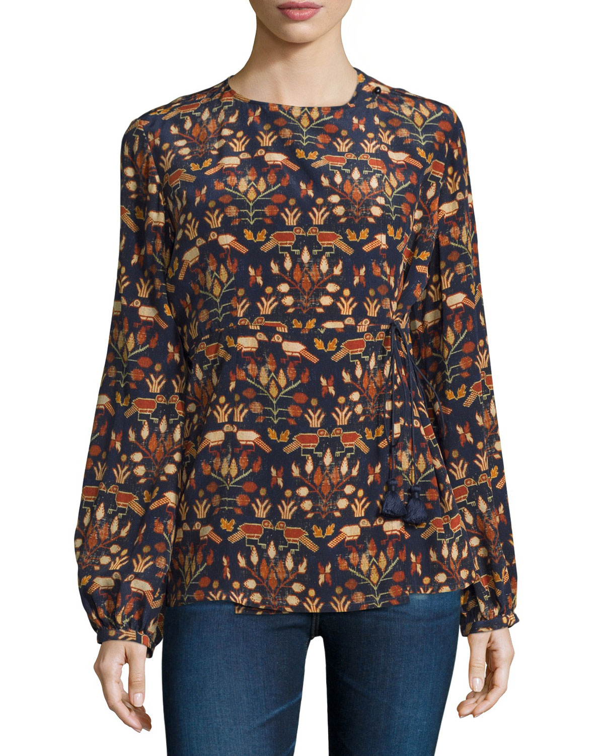 Lena Printed Long-Sleeve Top, Tappito
