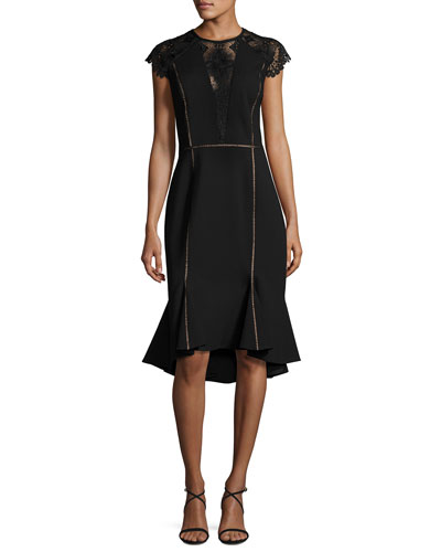 Cap-Sleeve Flounce-Hem Dress, Black