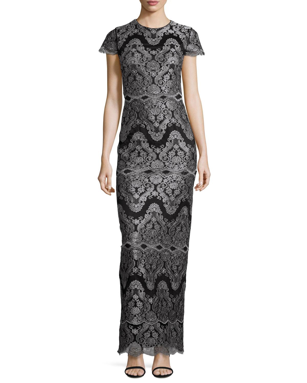 Short-Sleeve Metallic Lace Column Gown, Black/Silver