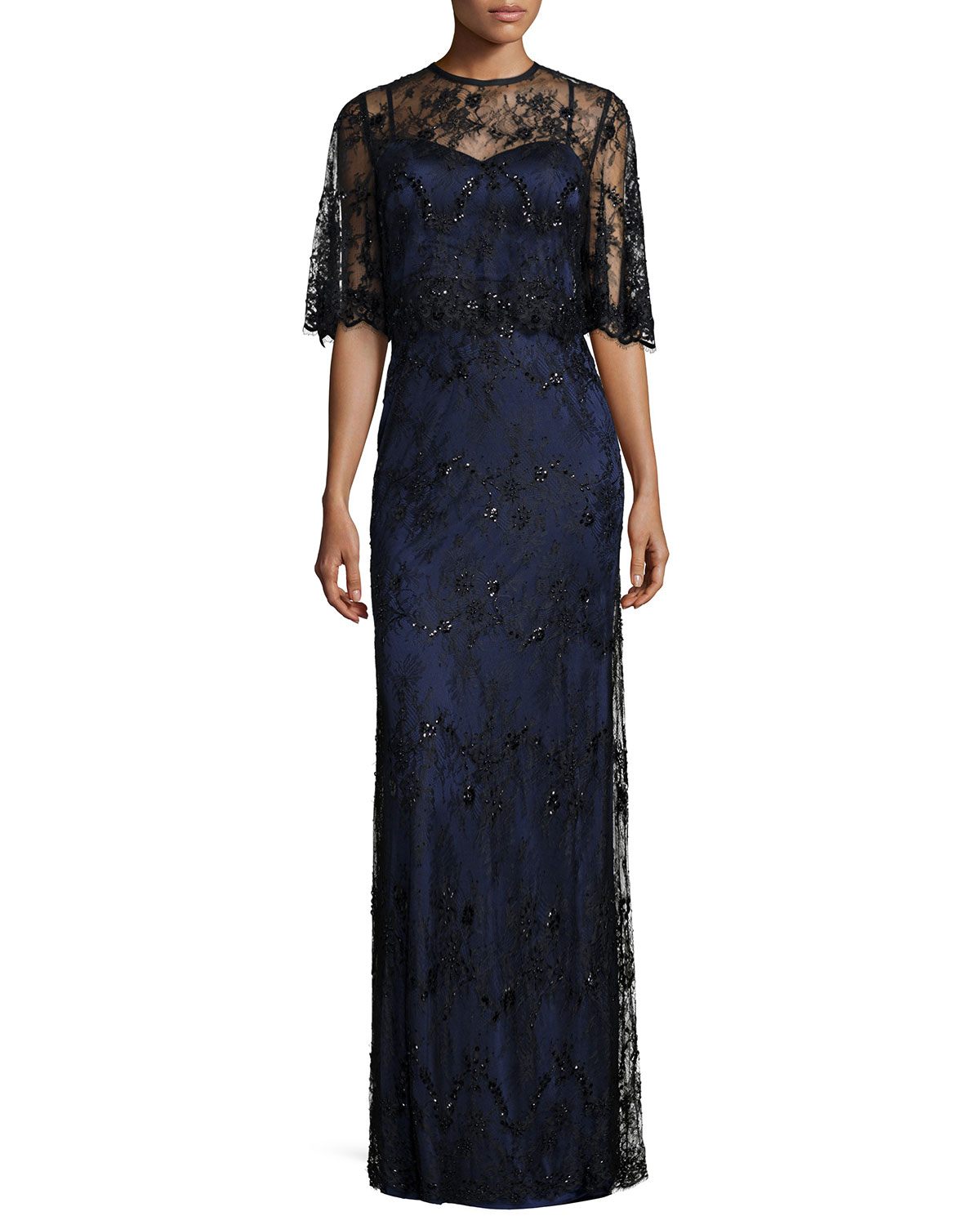 Beaded Two-Tone Lace Capelet Gown, Black/Navy