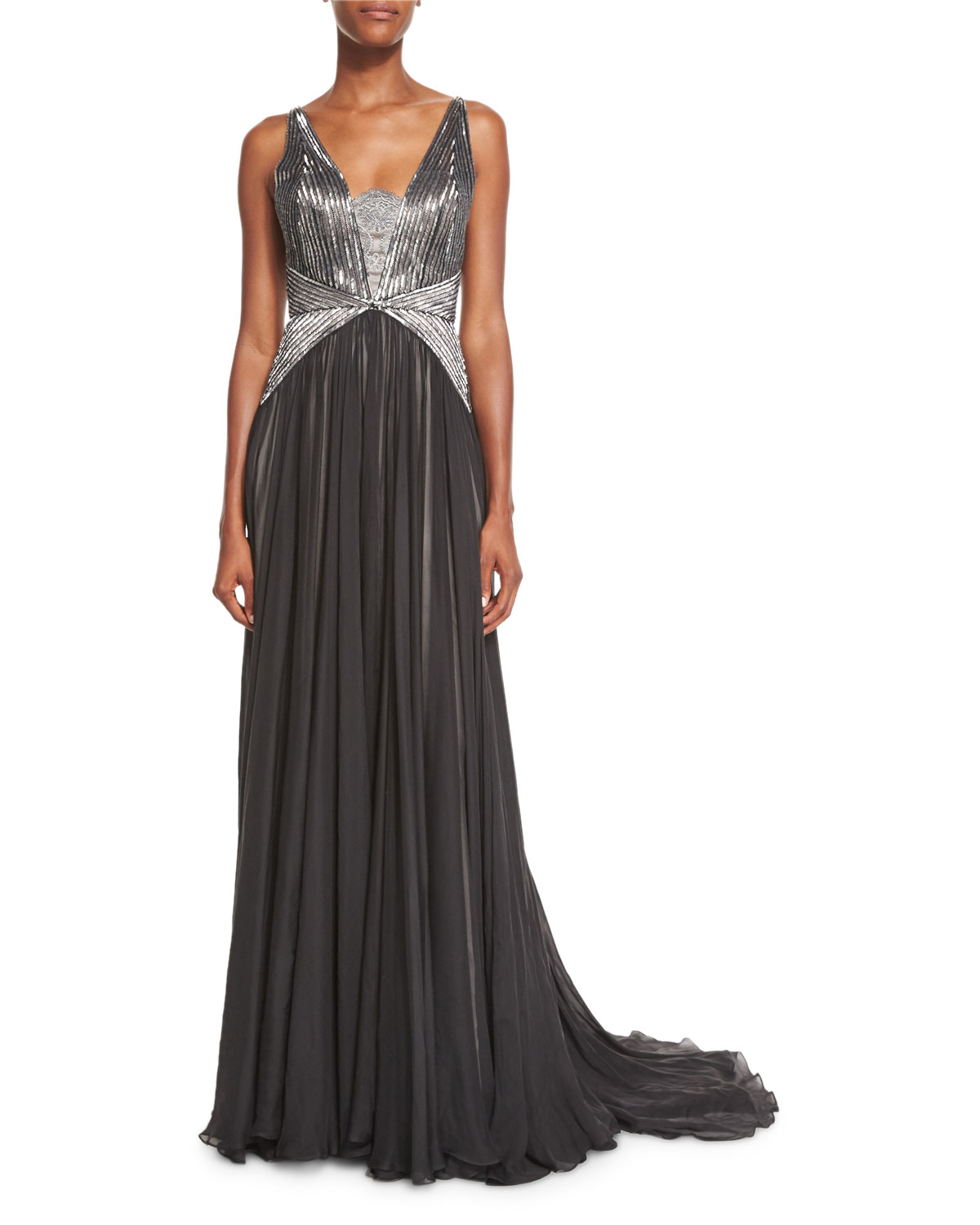 Sleeveless Deco-Beaded Georgette Gown, Black/Silver