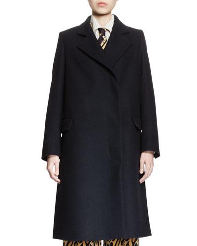 Reiss Wool Coat w/Leopard-Print Lining, Navy