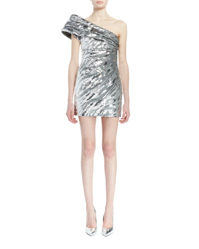 One-Shoulder Pleated Metallic Mini Dress, Silver