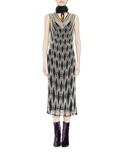 Detmer Pearly-Beaded Argyle Overlay Dress, Ecru